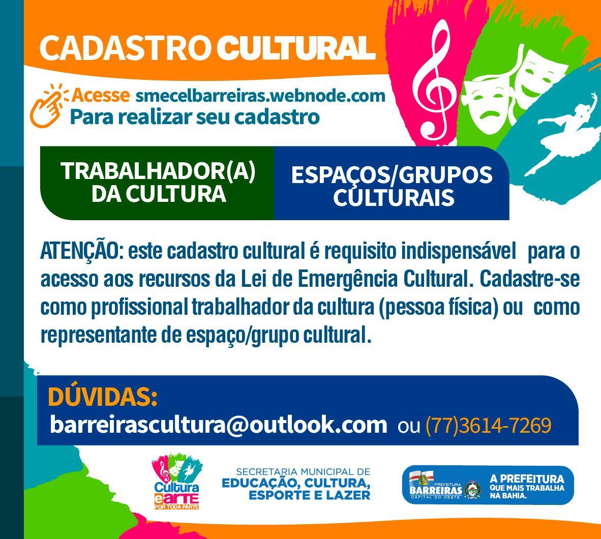 Prefeitura de Barreiras cria comissão técnica para acompanhar implementação da Lei Aldir Blanc