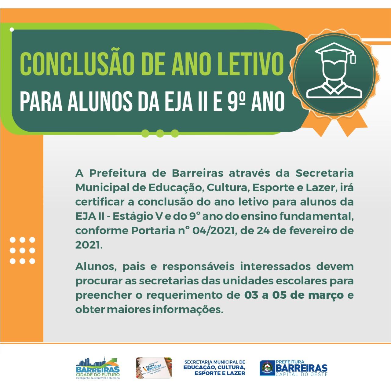 Secretaria de Educação de Barreiras vai certificar alunos do 9º ano e EJA II para conclusão do ano letivo 2020