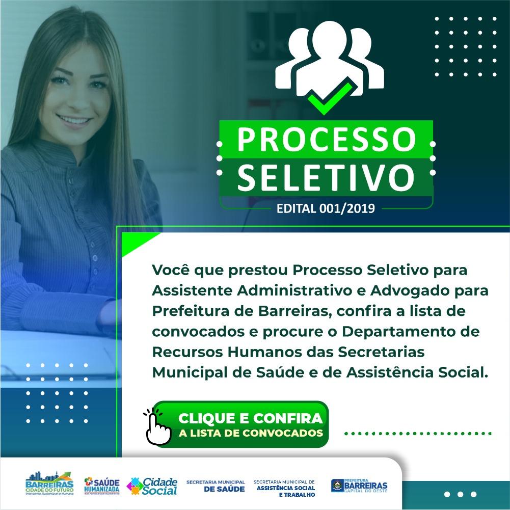 Prefeitura de Barreiras divulga nova lista de convocação do Processo Seletivo 01/2019 para Secretaria de Saúde e Assistência Social